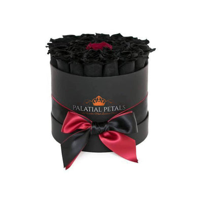 Black & Red Roses That Last A Year - Medium Rose Box - Palatial Petals
