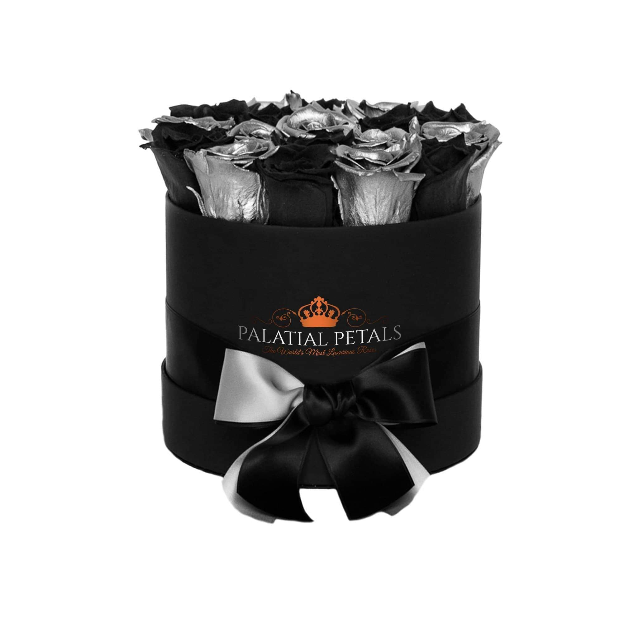 Black & Silver Roses That Last A Year - Classic Rose Box - Palatial Petals