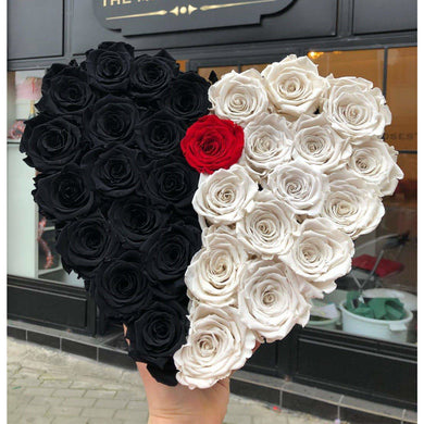 Black & White Roses That Last A Year - Love Heart Rose Box - Palatial Petals