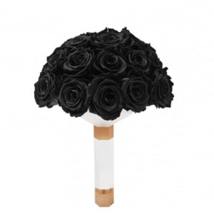 Black Luxury Eternity Rose Bridal Bouquet - Palatial Petals