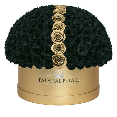Black & 24K Gold Roses That Last A Year - Deluxe Rose Box - Palatial Petals