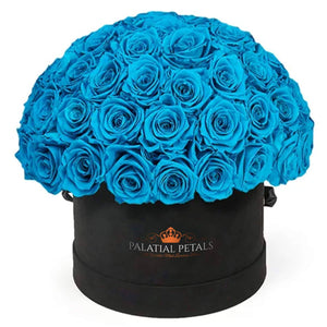 "Blue Roses That Last A Year - Medium ""Dome"" Rose Box - Palatial Petals"