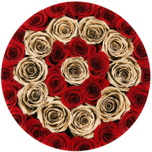 Red & 24k Gold Roses That Last A Year - Large Rose Box - Palatial Petals