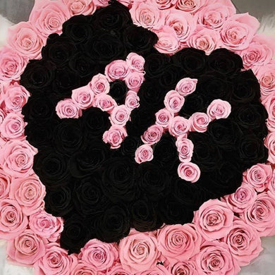 Pink & Black Roses That Last A Year - Custom Deluxe Rose Box - Palatial Petals