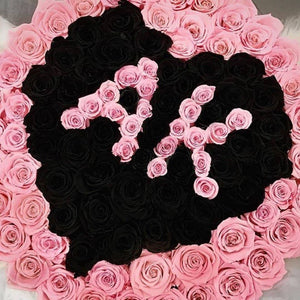 Bridal Pink & Black Magic Preserved Roses That Last A Year - Custom XL Rose Box - Palatial Petals