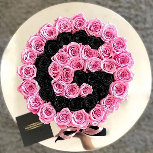 Bridal Pink & Black Magic Roses That Last A Year - XL Custom Rose Box - Palatial Petals