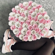 Pink & White Roses That Last A Year - Deluxe Rose Box - Palatial Petals