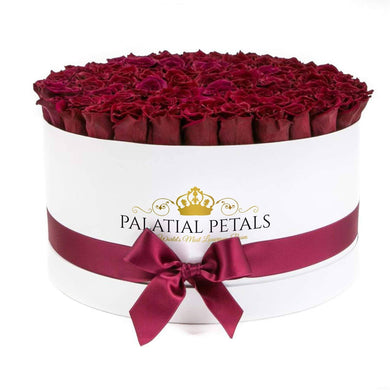 Burgundy Roses That Last A Year - Deluxe Rose Box - Palatial Petals