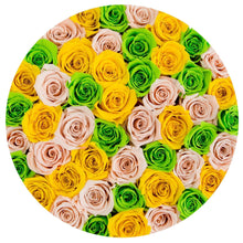 Champagne, Lime Green & Sunshine Yellow Roses That Last A Year - Large Rose Box - Palatial Petals
