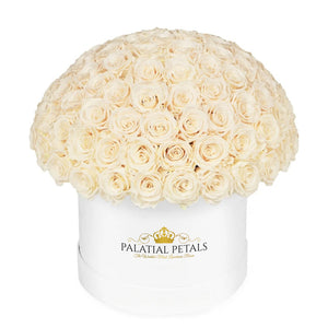 "Champagne Roses That Last A Year - Grande ""Crown"" Rose Box"