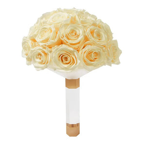 Champagne Luxury Eternity Rose Bridal Bouquet - Palatial Petals