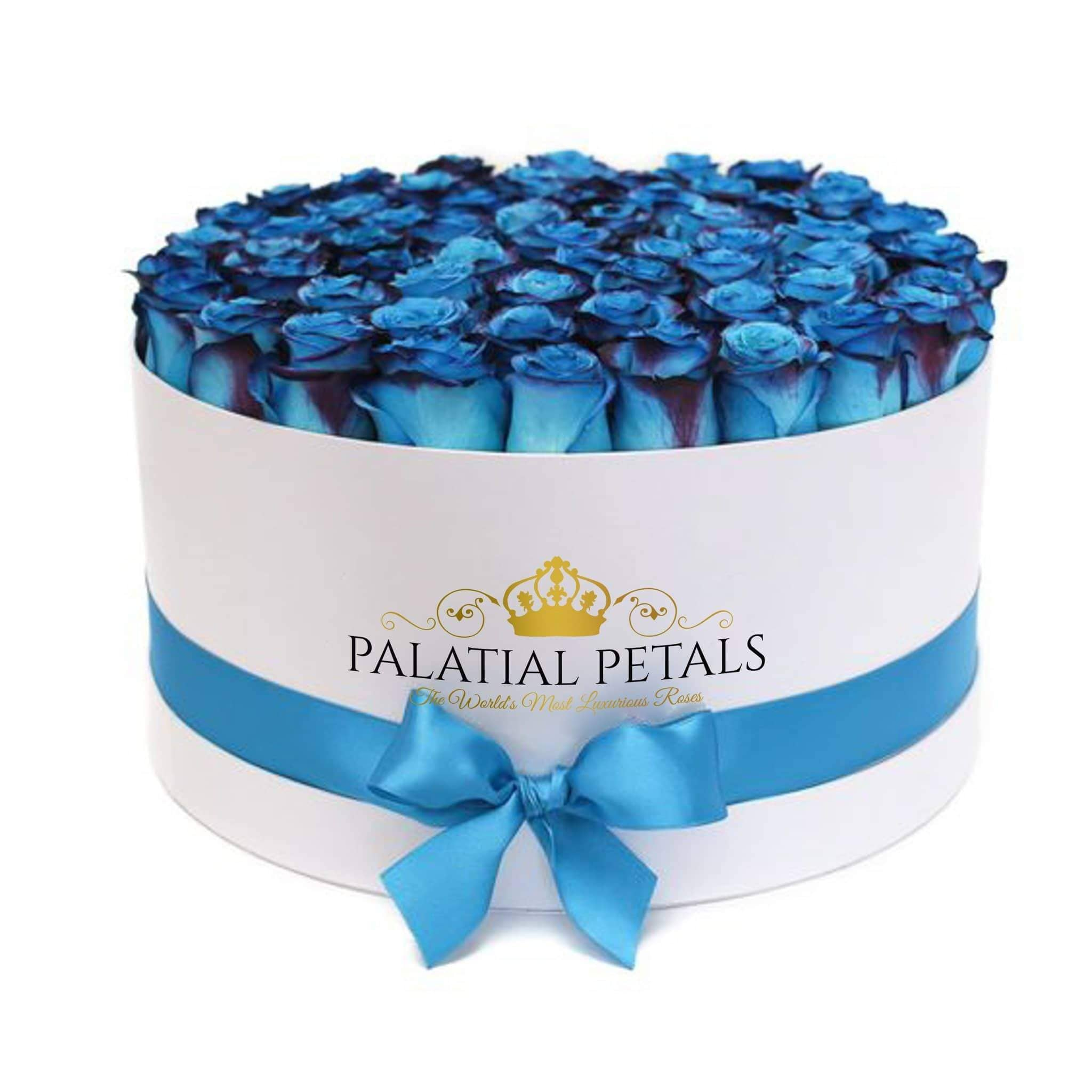 Coral Blue Roses That Last A Year - Deluxe Rose Box - Palatial Petals