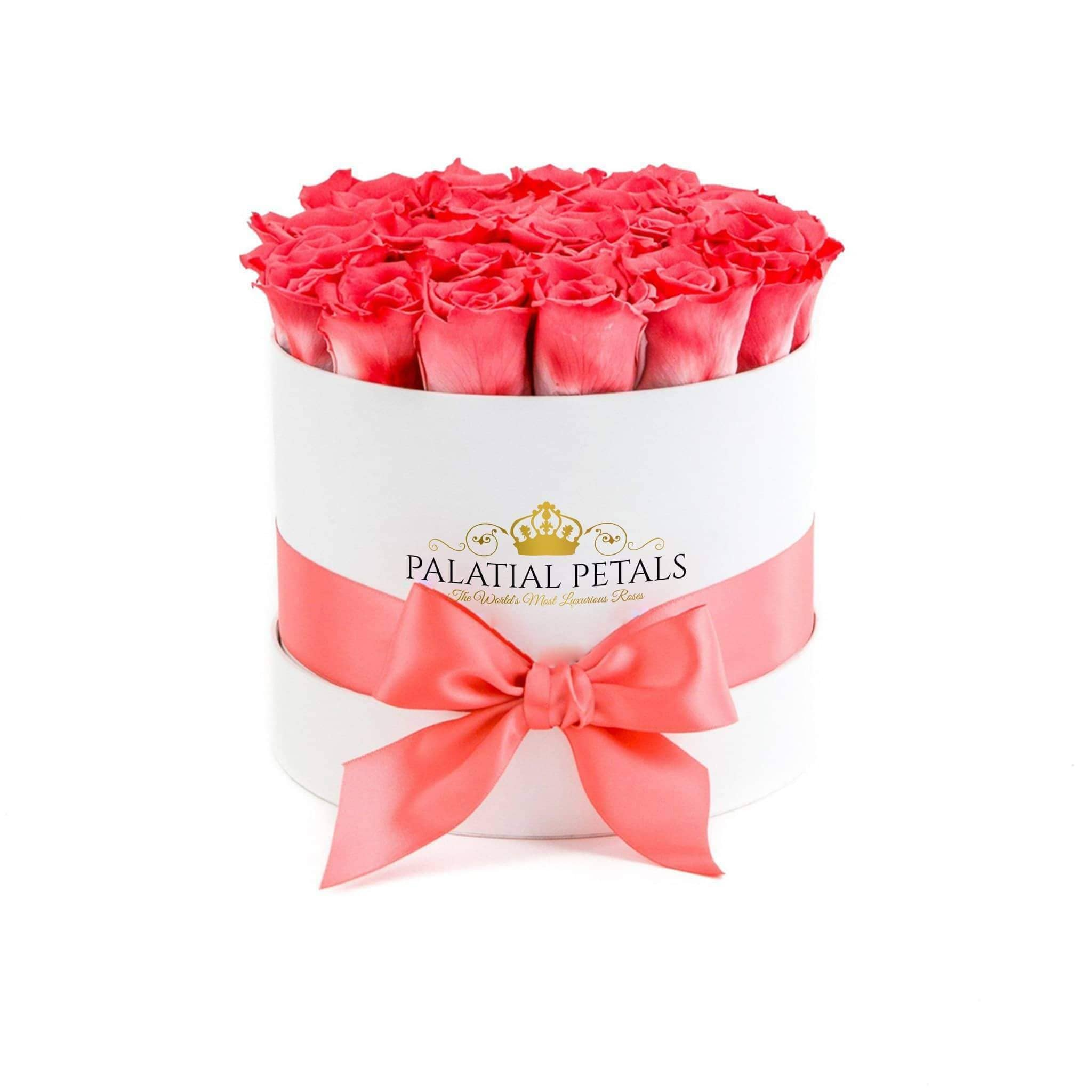 Coral Pink Roses That Last A Year - Classic Rose Box - Palatial Petals