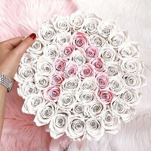 White & Pink Roses That Last A Year - Custom Deluxe Rose Box - Palatial Petals
