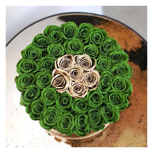 Green & 24K Gold Roses That Last A Year - Deluxe Rose Box - Palatial Petals