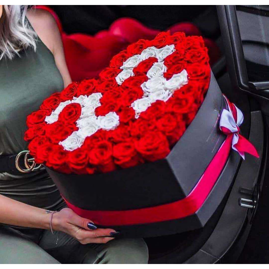 Ferrari Red & Snow White Roses That Last A Year - Custom Love Heart Rose Box - Palatial Petals