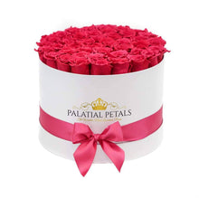 Flamingo Pink Roses That Last A Year - Large Rose Box - Palatial Petals