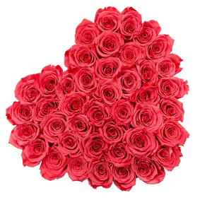 Coral Pink Roses That Last A Year - Love Heart Rose Box - Palatial Petals