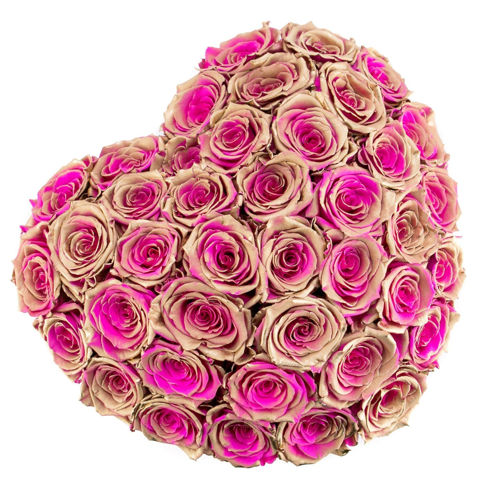 Golden Pink Roses That Last A Year - Love Heart Rose Box - Palatial Petals