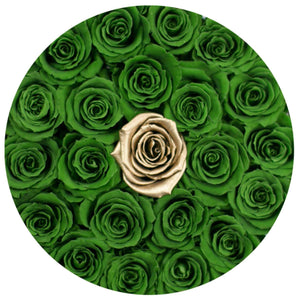 Green & 24k Gold Roses That Last A Year - Classic Rose Box - Palatial Petals