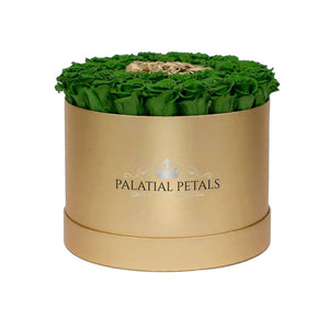 Green & 24k Gold Roses That Last A Year - Large Rose Box - Palatial Petals