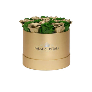 Green And Gold Roses That Last A Year - Medium Rose Box - Palatial Petals