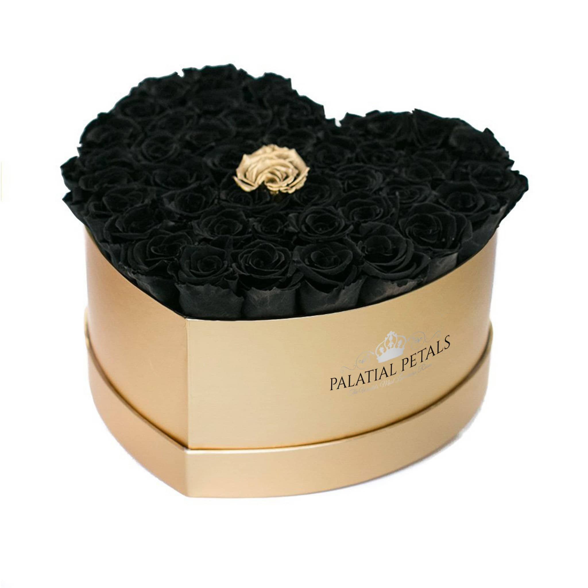 Black & 24k Gold Roses That Last A Year - Love Heart Rose Box