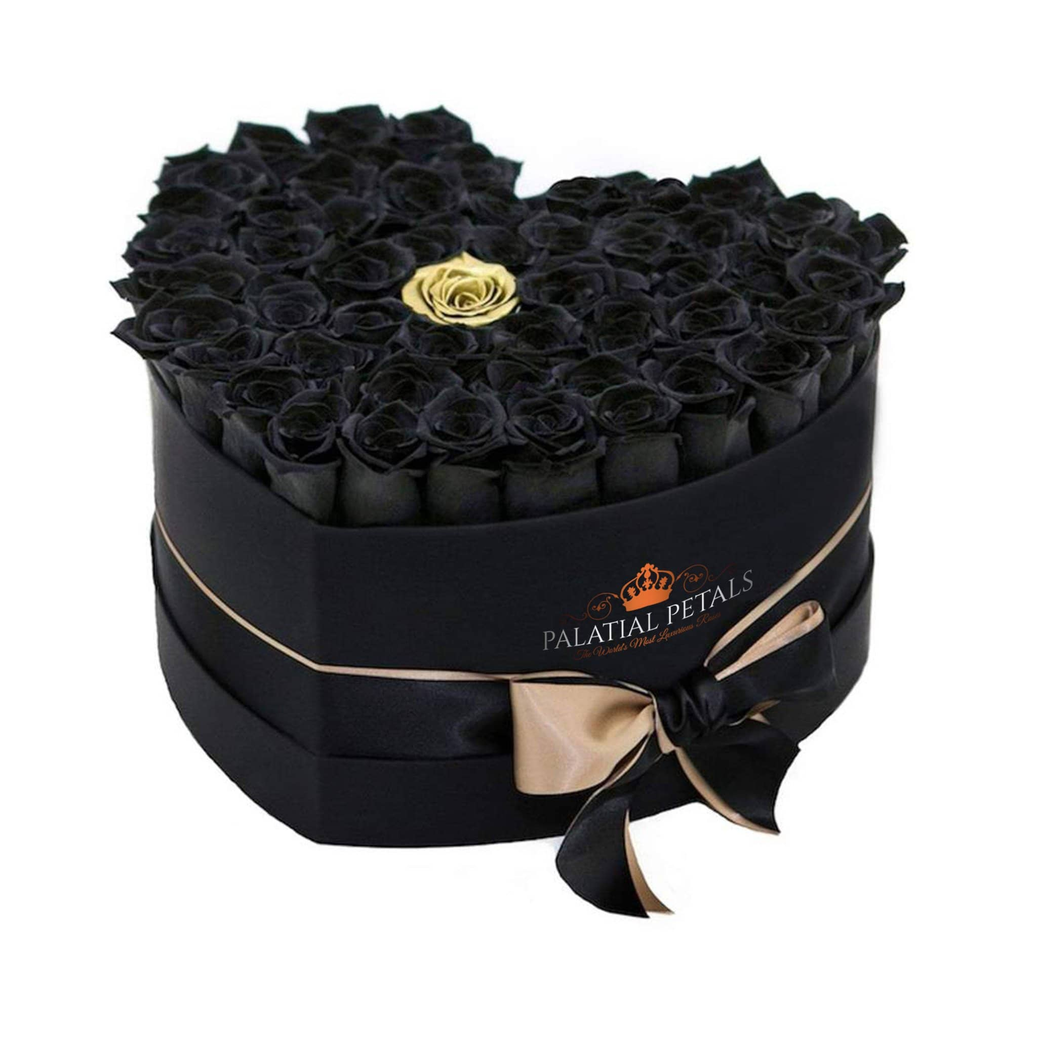 Black & Gold Roses That Last A Year - Love Heart Rose Box