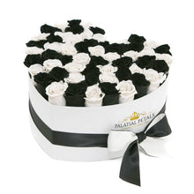 Black & White Roses That Last A Year - Love Heart Box