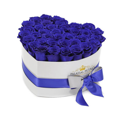 Royal Blue Roses That Last A Year - Love Heart Box