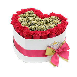 Pink & Gold Roses That Last A Year - Love Heart Box