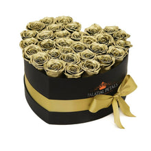 24k Gold Roses That Last A Year - Love Heart Box