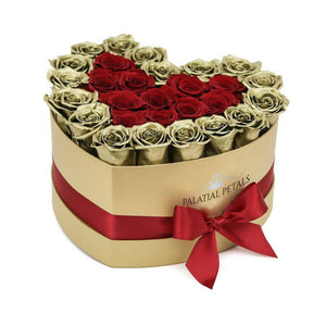24k Gold & Red Roses That Last A Year - Love Heart Rose Box