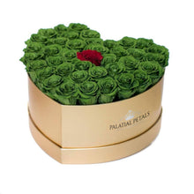 Green & Red Roses That Last A Year - Love Heart Box