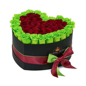 Green & Red Roses That Last A Year - Love Heart Rose Box