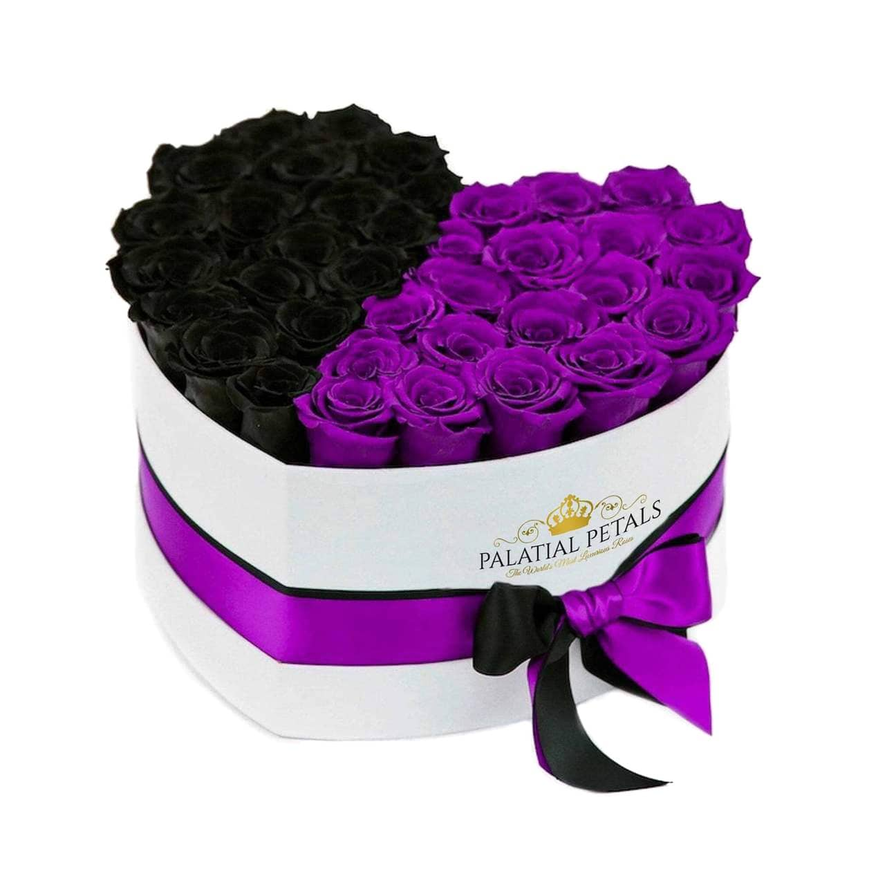 Black & Purple Roses That Last A Year - Love Heart Box