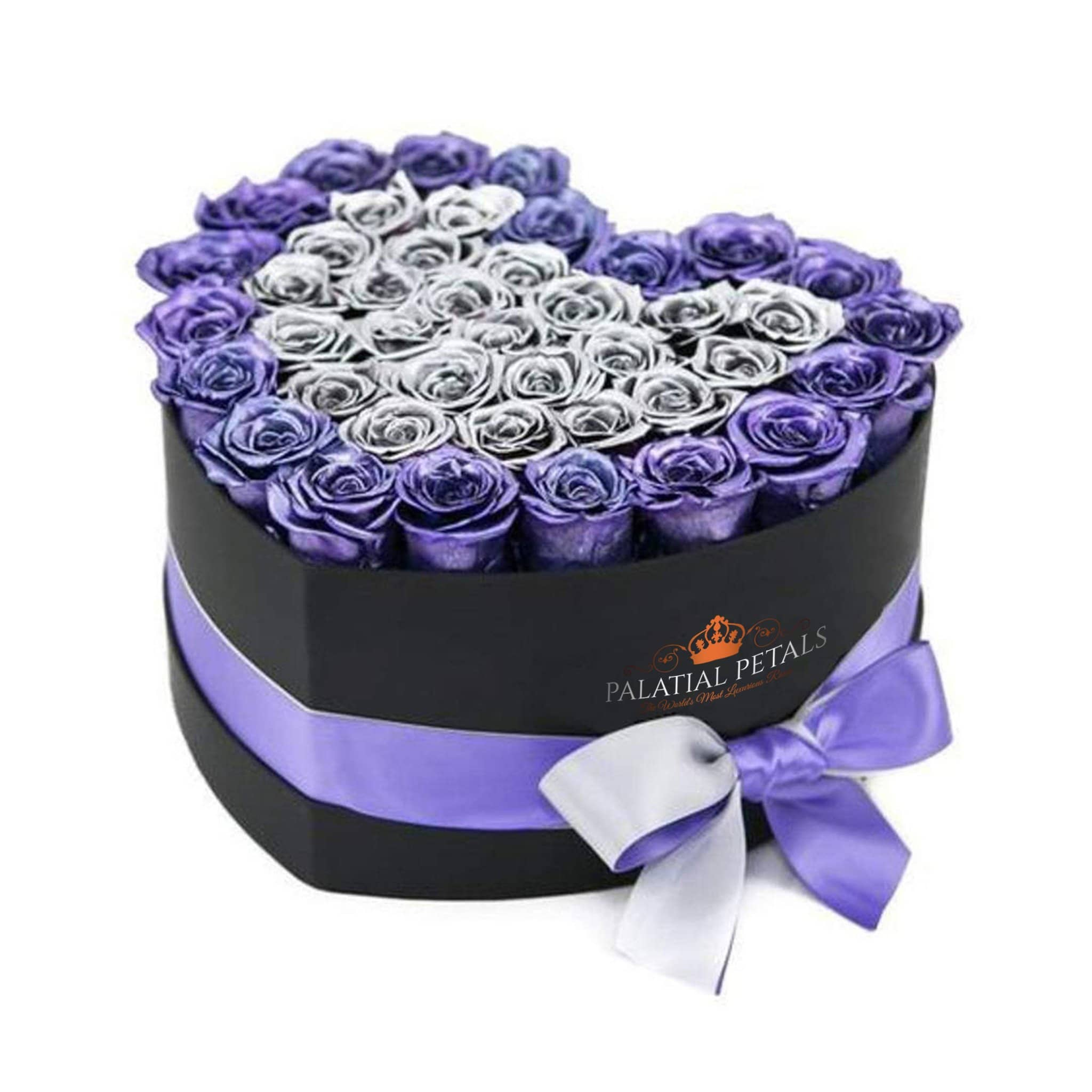 Metallic Purple & Silver Roses That Last A Year - Love Heart Box