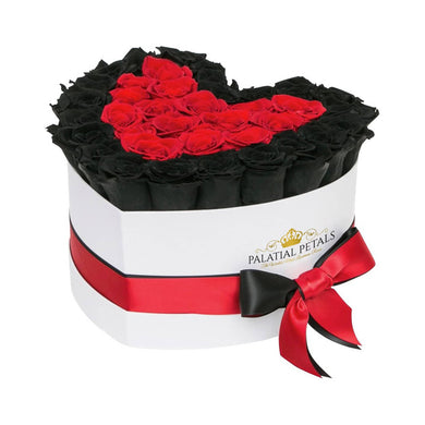 Black & Red Roses That Last A Year - Love Heart Rose Box