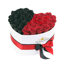 Black & Red Roses That Last A Year - Love Heart Box
