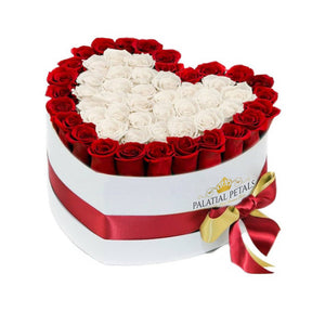 Red & White Roses That Last A Year - Love Heart Box
