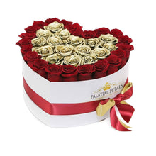 Red & 24k Gold Roses That Last A Year - Love Heart Rose Box