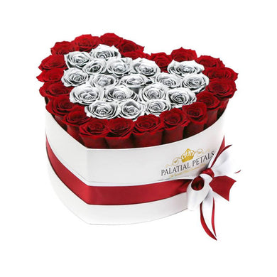 Red & Metallic Silver Roses That Last A Year - Love Heart Rose Box