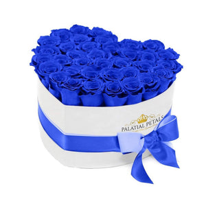 Sapphire Blue Roses That Last A Year - Love Heart Box