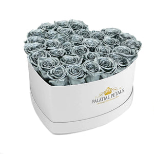 Silver Roses That Last A Year - Love Heart Rose Box