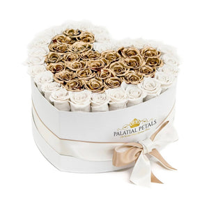 White & 24k Gold Roses That Last A Year - Love Heart Rose Box