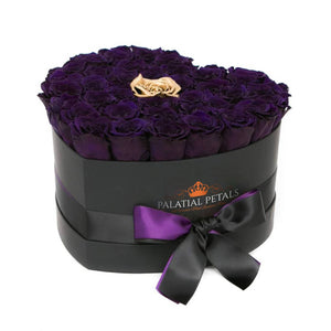 Purple & Gold Roses That Last A Year - Love Heart Rose Box - Palatial Petals