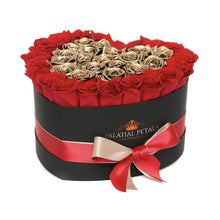 Red & Gold Roses That Last A Year - Love Heart Box - Palatial Petals