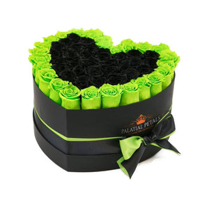 Green & Black Roses That Last A Year - Love Heart Rose Box