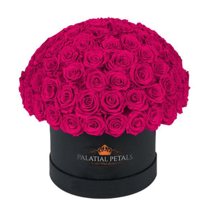 "Hot Pink Roses That Last A Year - Grande ""Crown"" Rose Box"