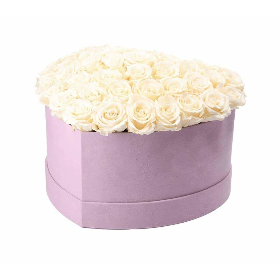 Ivory Roses That Last A Year - Love Heart Rose Box - Palatial Petals